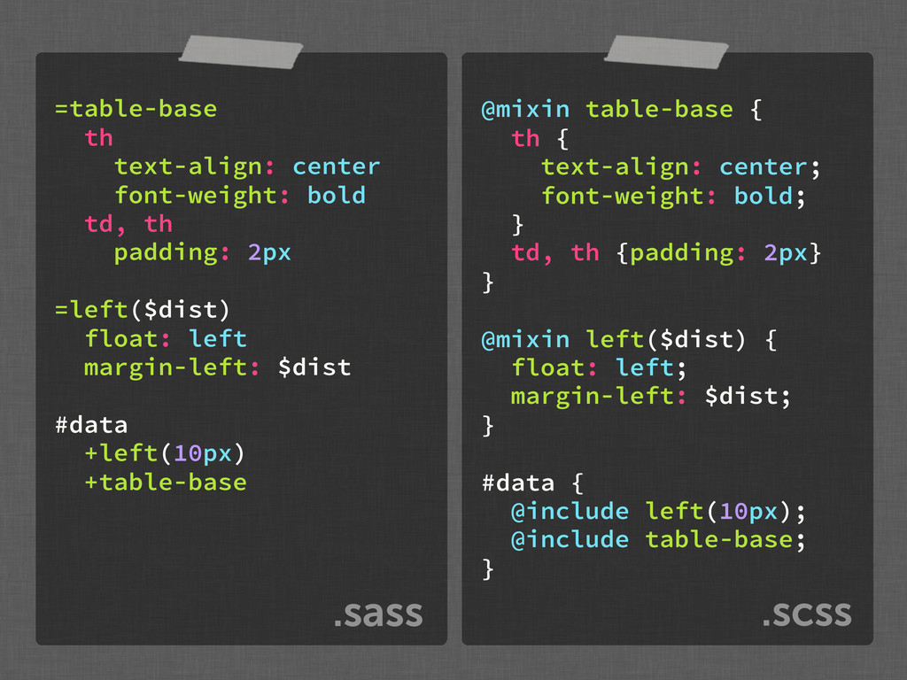 .scss .sass =table-base th text-align: center f...