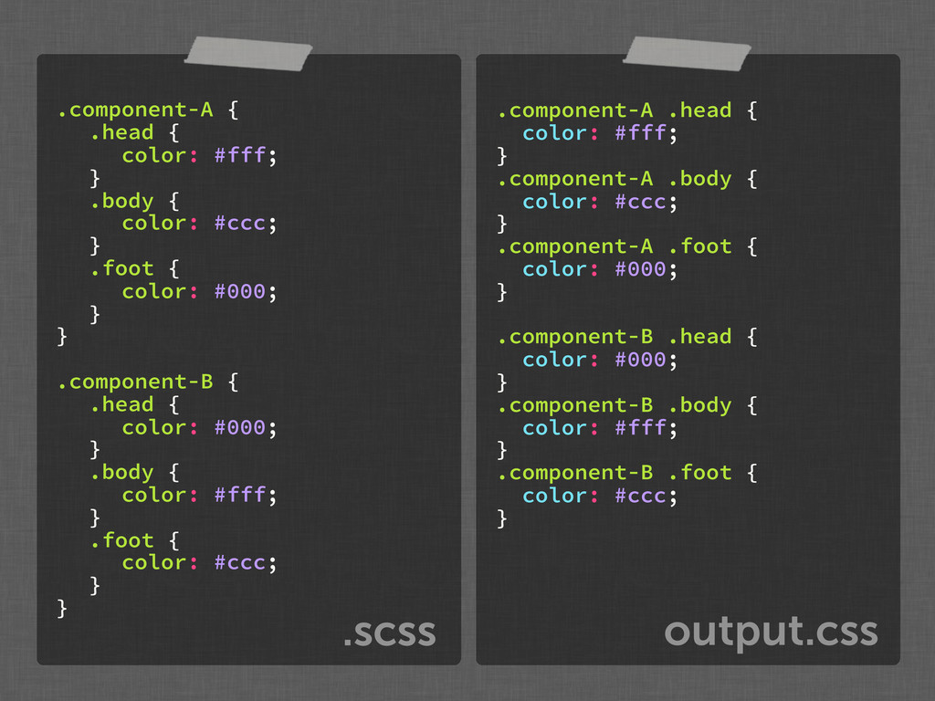 output.css .scss .component-A { .head { color: ...