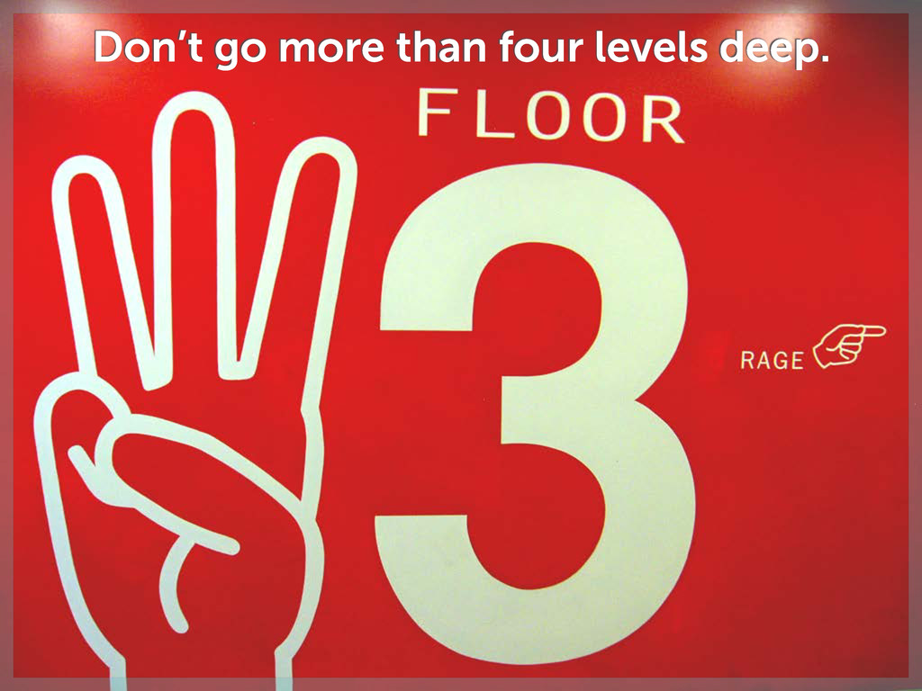 Don't go more than four levels deep.