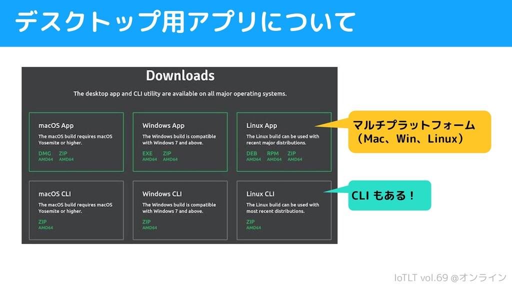IoTLT vol.69 @オンライン デスクトップ用アプリについて マルチプラットフォーム ...