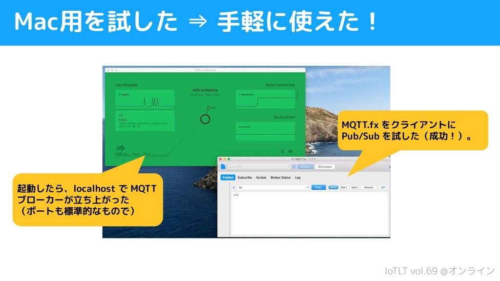 IoTLT vol.69 @オンライン Mac用を試した ⇒ 手軽に使えた! 起動したら、lo...