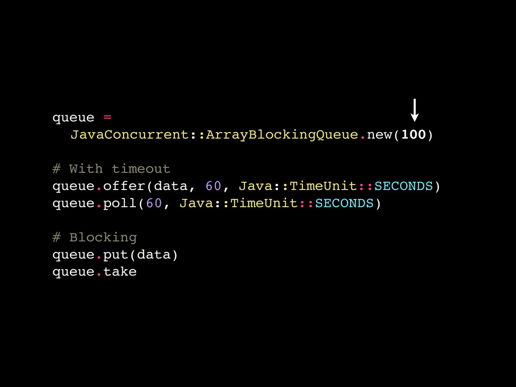 queue = ! JavaConcurrent::ArrayBlockingQueue.ne...