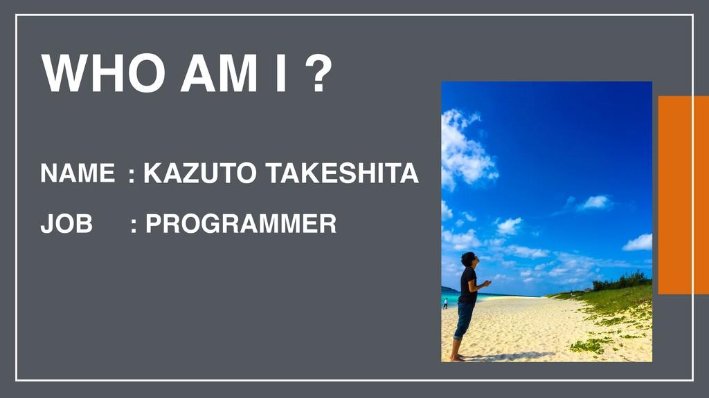 WHO AM I ? NAME JOB : KAZUTO TAKESHITA : PROGRA...