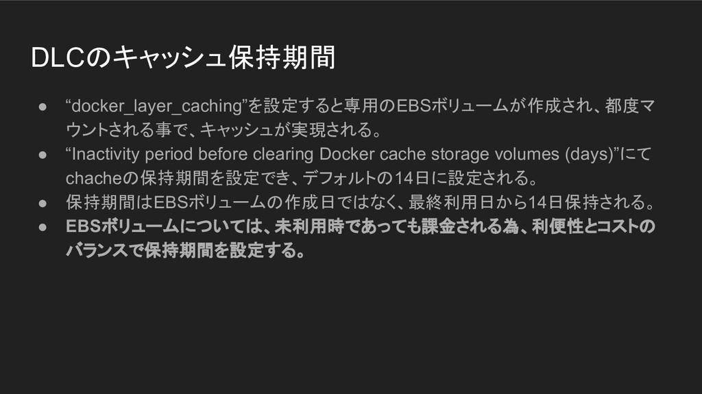 "DLCのキャッシュ保持期間 ● ""docker_layer_caching""を設定すると専用の..."