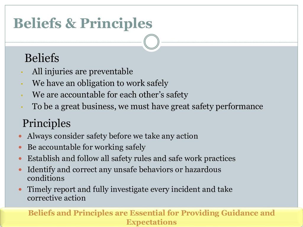Beliefs & Principles Beliefs • All injuries are...