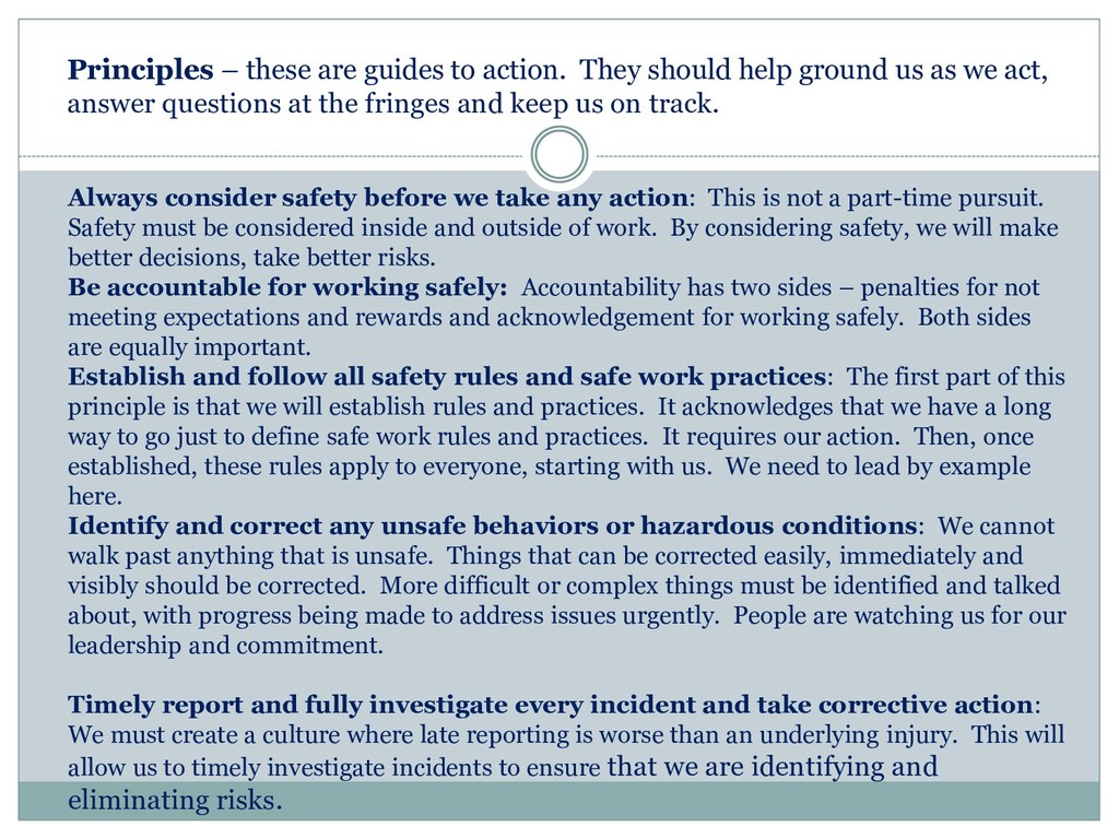 Always consider safety before we take any actio...