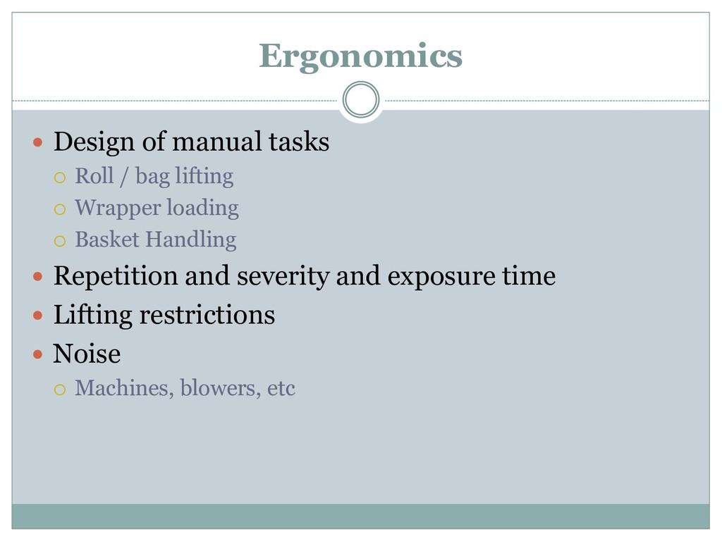 Ergonomics  Design of manual tasks  Roll / ba...