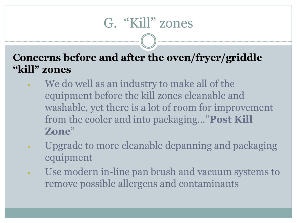 """G. """"Kill"""" zones Concerns before and after the o..."""