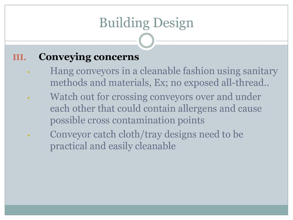 Building Design III. Conveying concerns • Hang ...