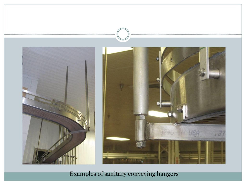 Examples of sanitary conveying hangers