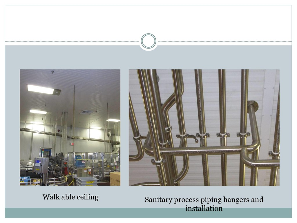 Walk able ceiling Sanitary process piping hange...