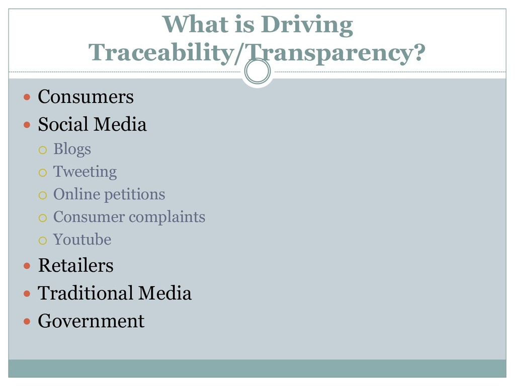 What is Driving Traceability/Transparency?  Co...