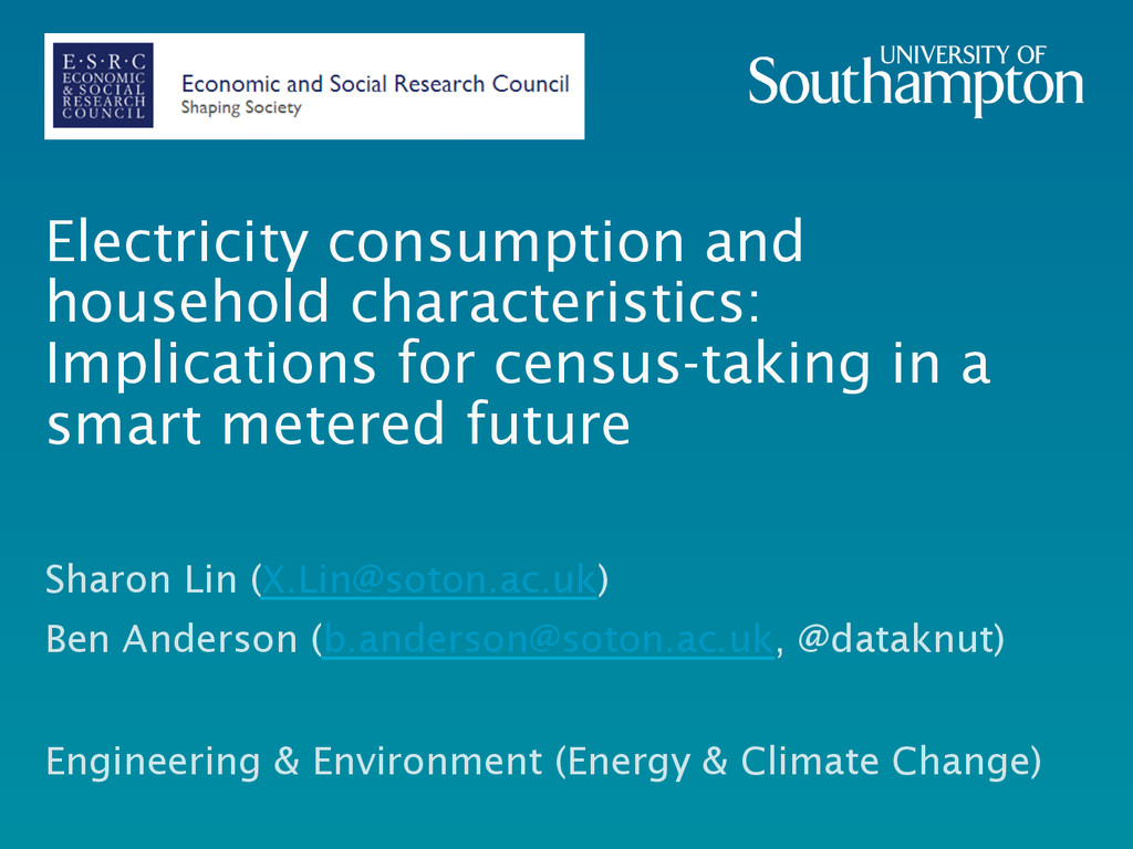 Electricity consumption and household character...