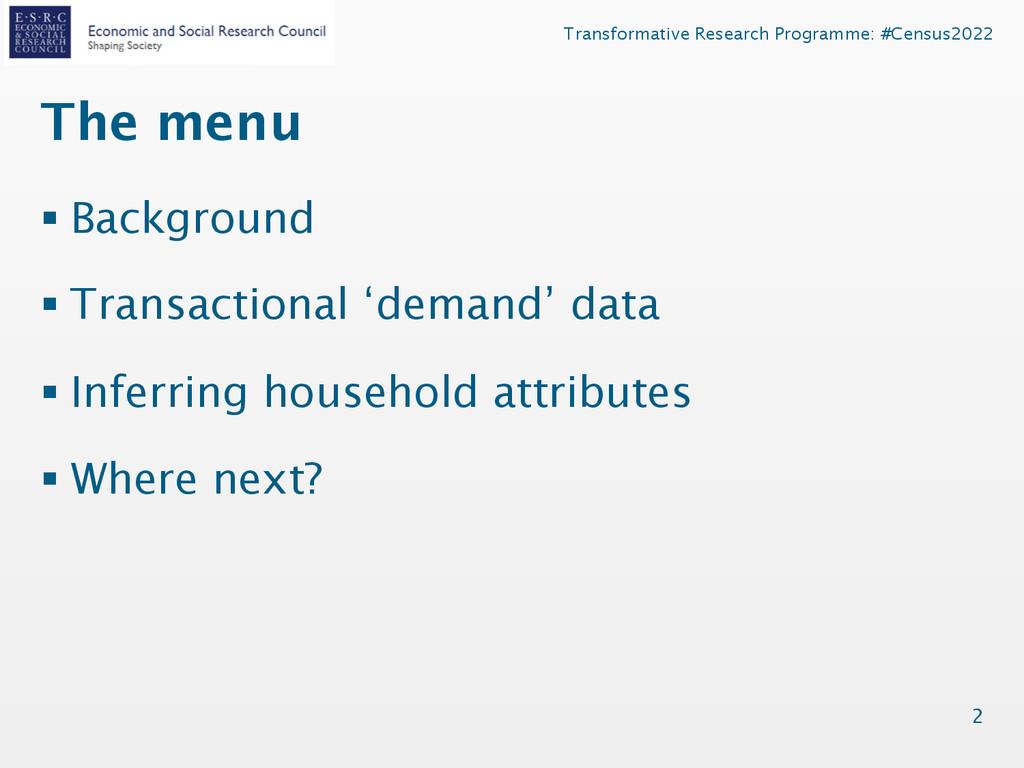 Transformative Research Programme: #Census2022 ...