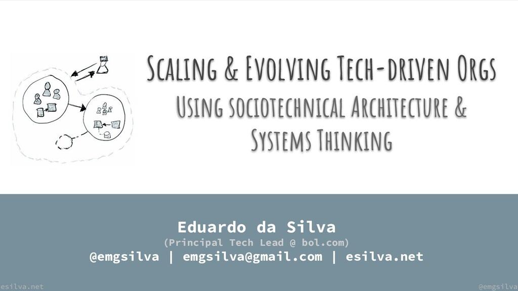 @emgsilva esilva.net Scaling & Evolving Tech-dr...
