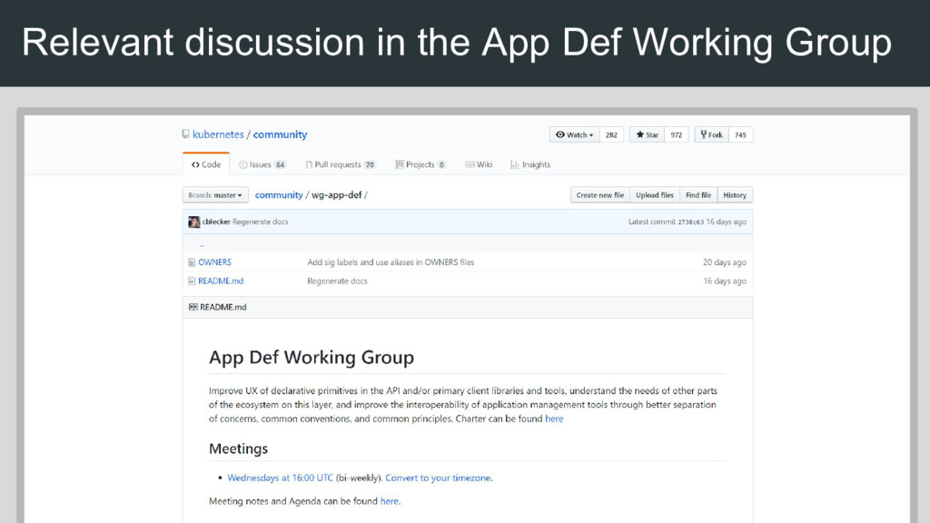 Relevant discussion in the App Def Working Group