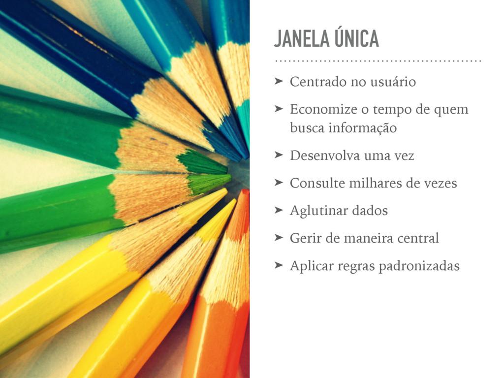 JANELA ÚNICA ➤ Centrado no usuário ➤ Economize ...
