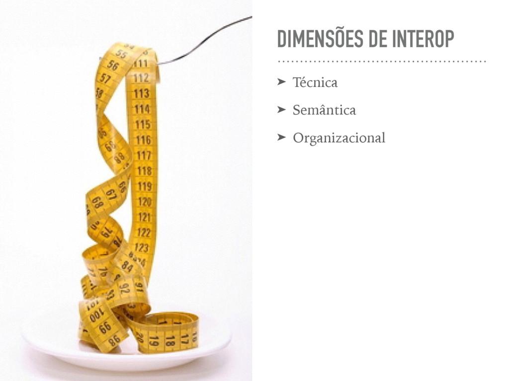 DIMENSÕES DE INTEROP ➤ Técnica ➤ Semântica ➤ Or...