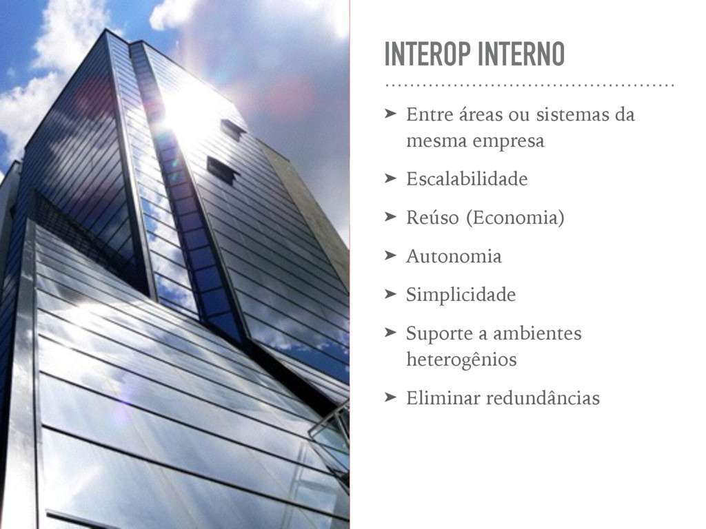 INTEROP INTERNO ➤ Entre áreas ou sistemas da me...