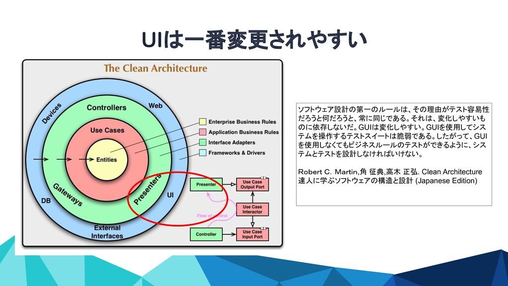 UIは一番変更されやすい ソフトウェア設計の第一のルールは、その理由がテスト容易性 だろうと何...
