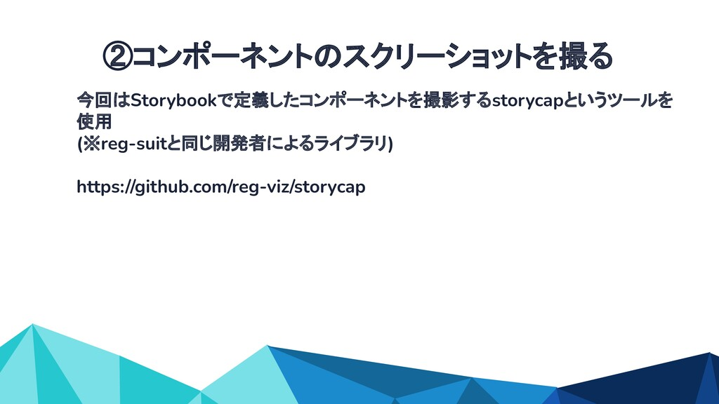 今回はStorybookで定義したコンポーネントを撮影するstorycapというツールを 使用...