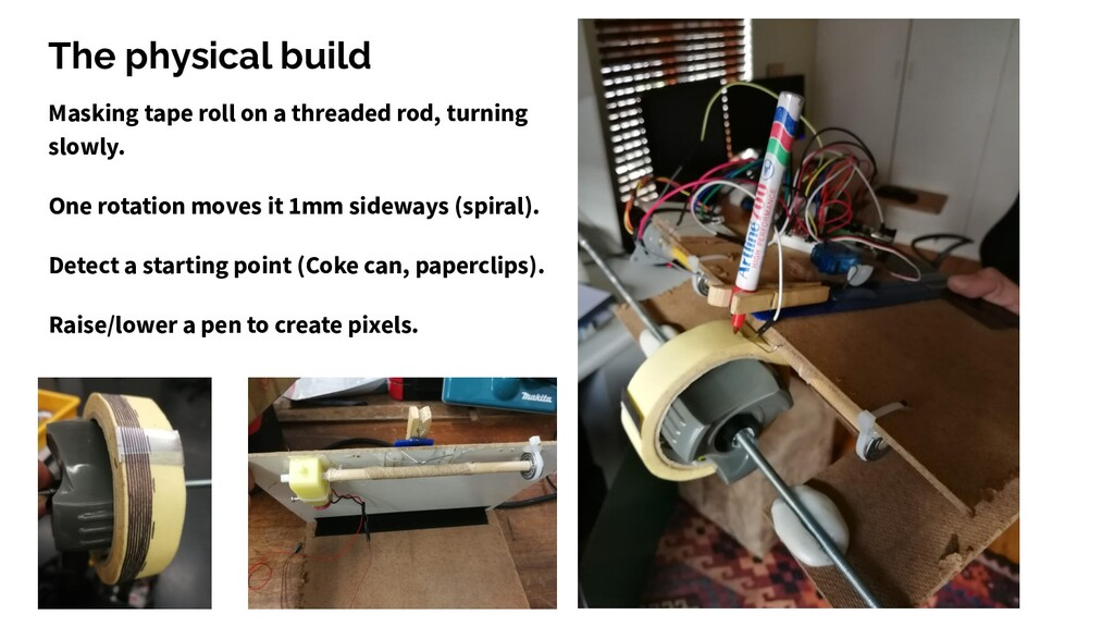 The physical build Masking tape roll on a threa...