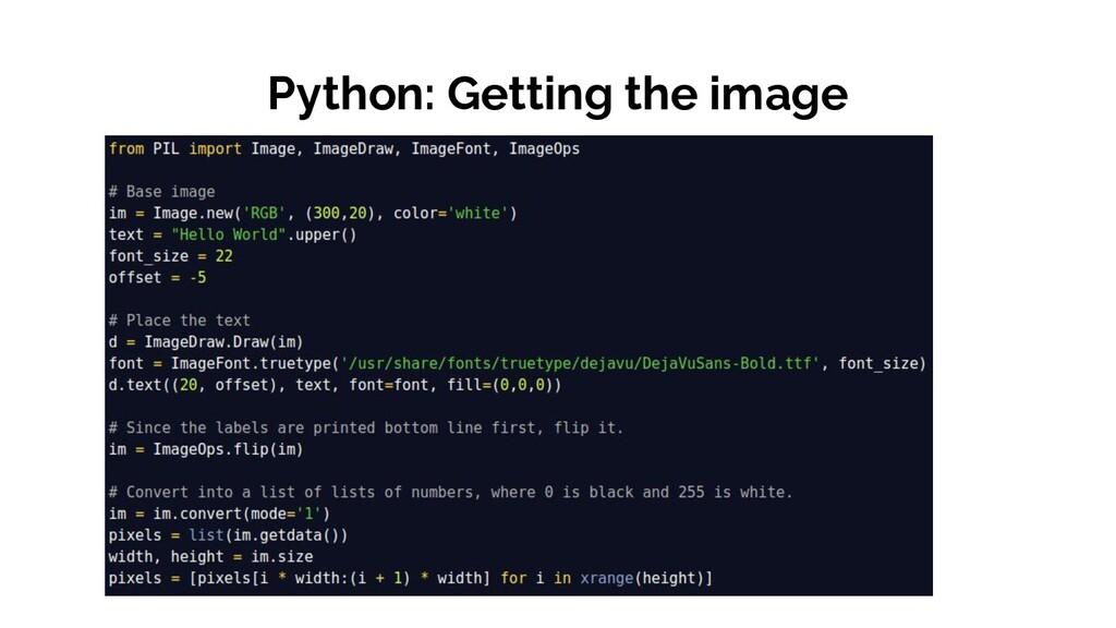 Python: Getting the image