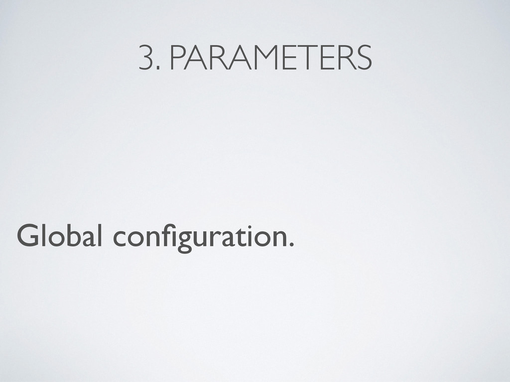 3. PARAMETERS Global configuration.