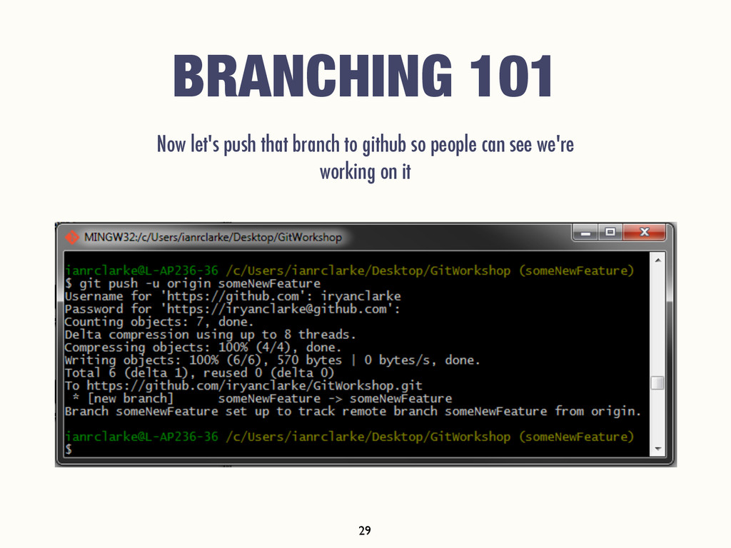 BRANCHING 101 Now let's push that branch to git...