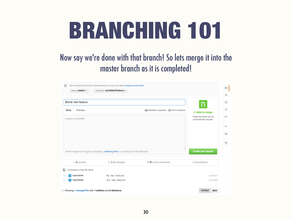 BRANCHING 101 Now say we're done with that bran...