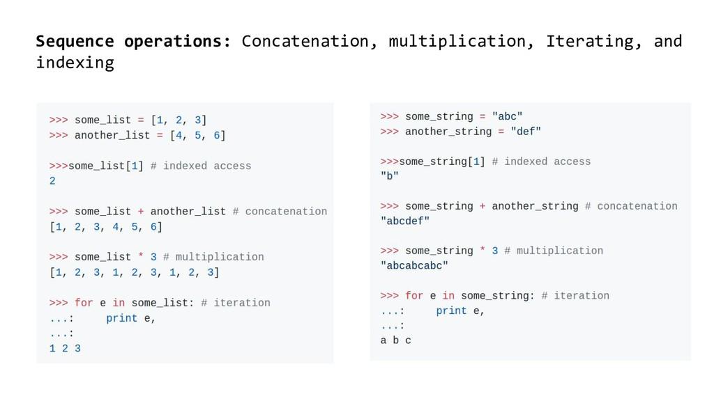 Sequence operations: Concatenation, multiplicat...