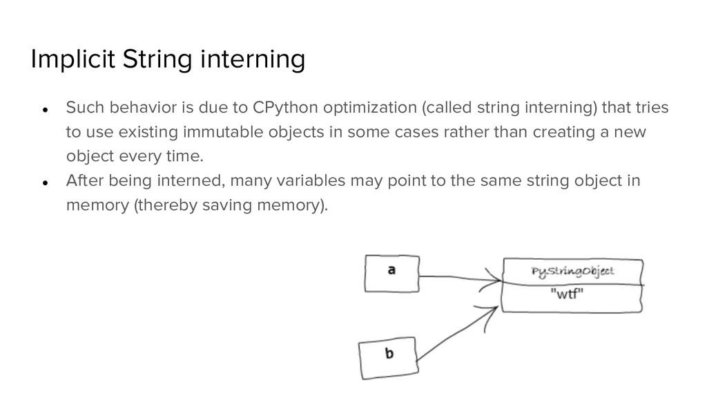 Implicit String interning ● Such behavior is du...