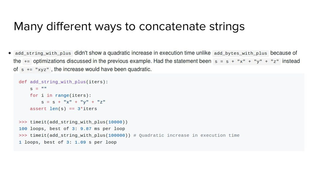 Many different ways to concatenate strings