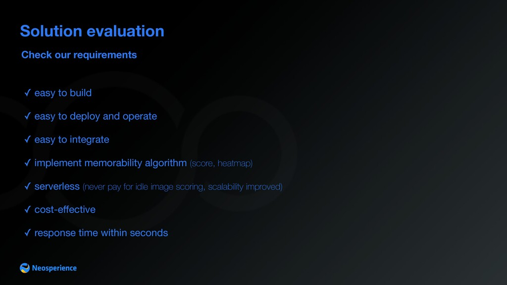 Check our requirements Solution evaluation ✓ ea...