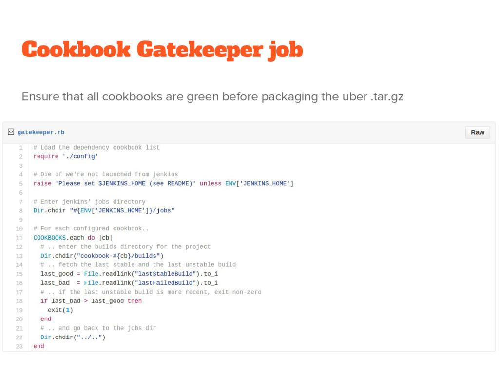 Cookbook Gatekeeper job Ensure that all cookboo...
