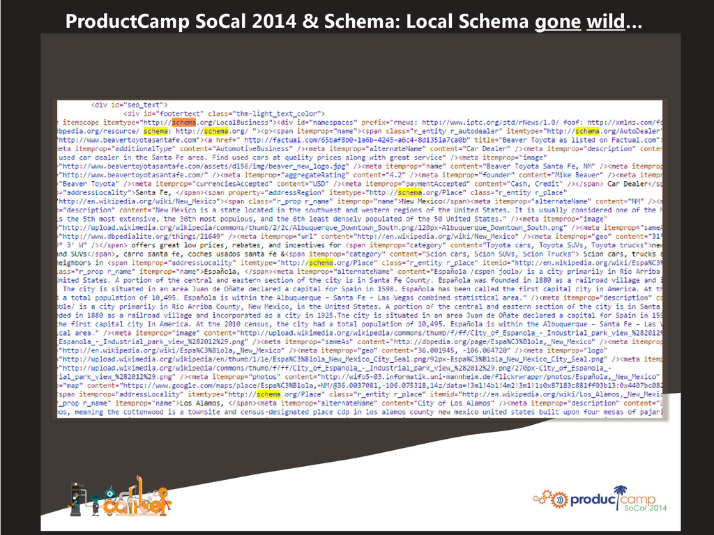 ProductCamp SoCal 2014 & Schema: Local Schema g...