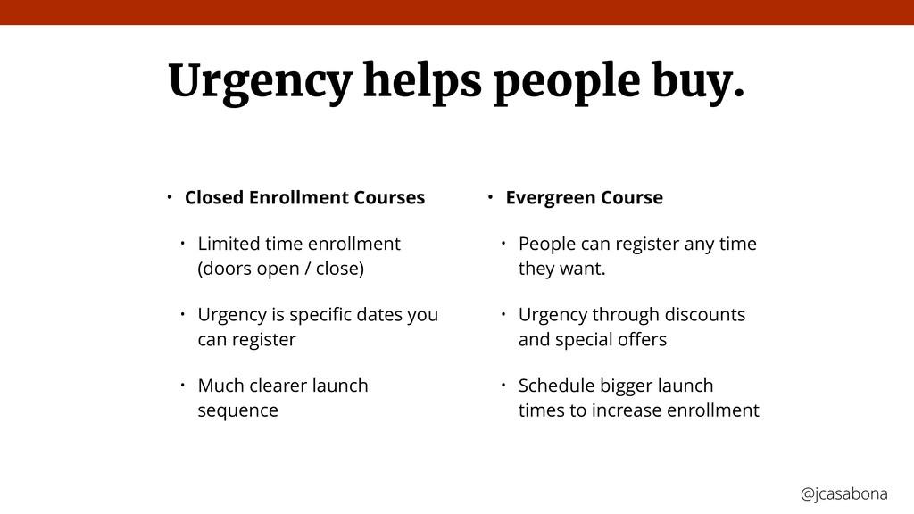 @jcasabona @jcasabona Urgency helps people buy....