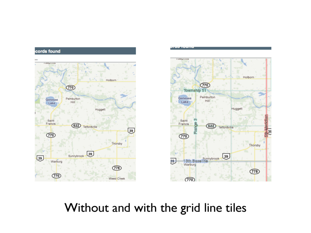 Without and with the grid line tiles