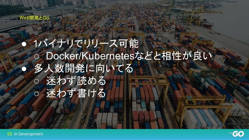 Web開発とGo ● 1バイナリでリリース可能 ○ Docker/Kubernetesなどと相...