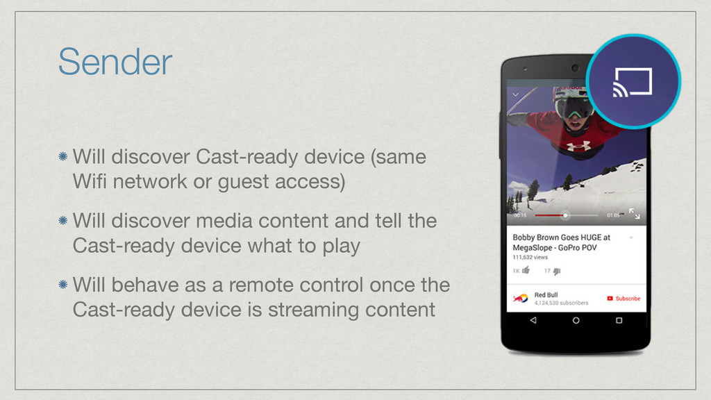 Sender Will discover Cast-ready device (same Wi...