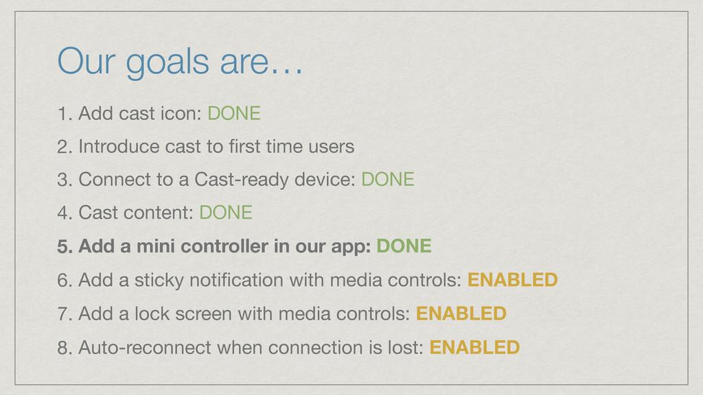 Our goals are… 1. Add cast icon: DONE  2. Intro...
