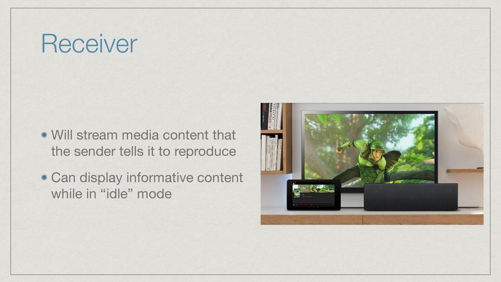 Receiver Will stream media content that the sen...