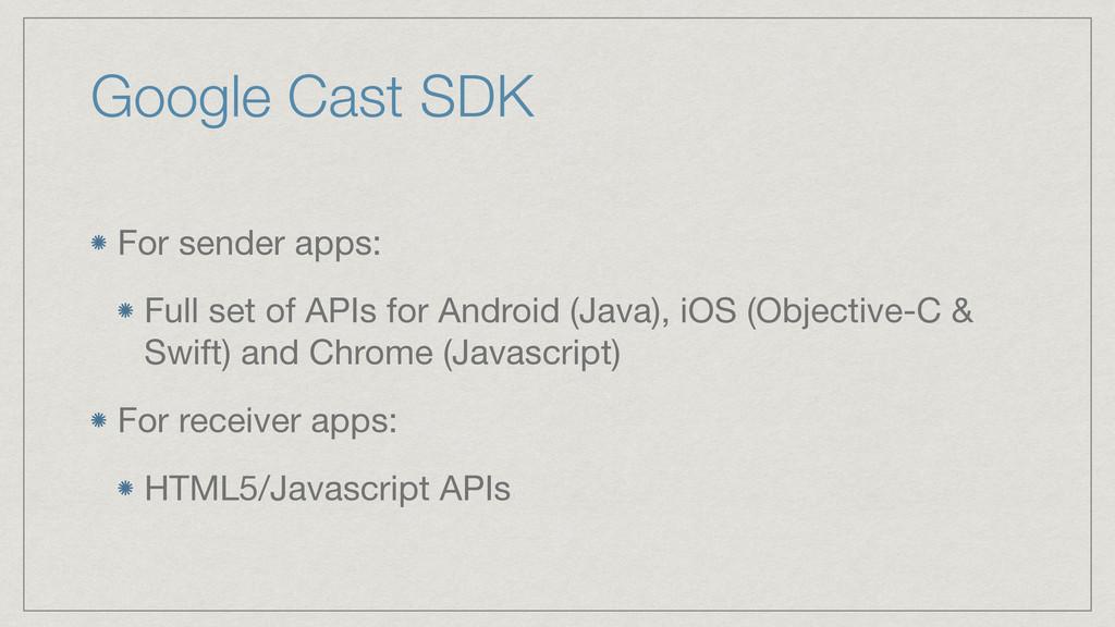 Google Cast SDK For sender apps:  Full set of A...