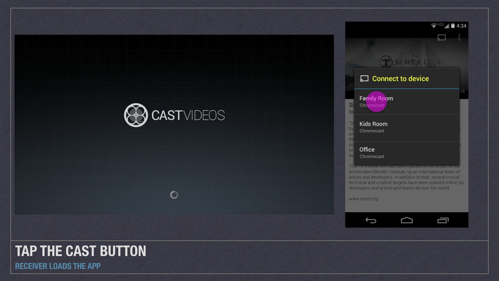 TAP THE CAST BUTTON RECEIVER LOADS THE APP