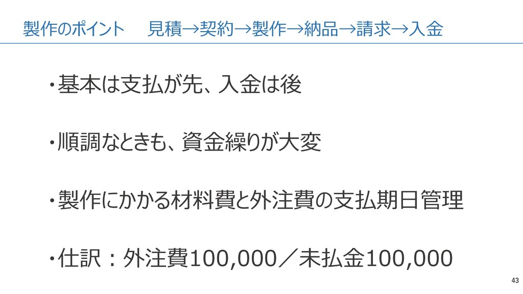 製作のポイント 見積→契約→製作→納品→請求→入金 43 ・基本は支払が先、入金は後 ・順調な...