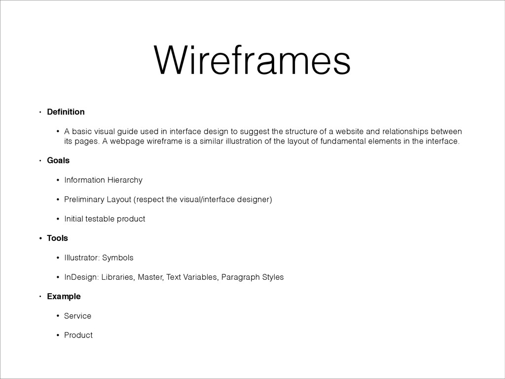 Wireframes • Definition! • A basic visual guide ...