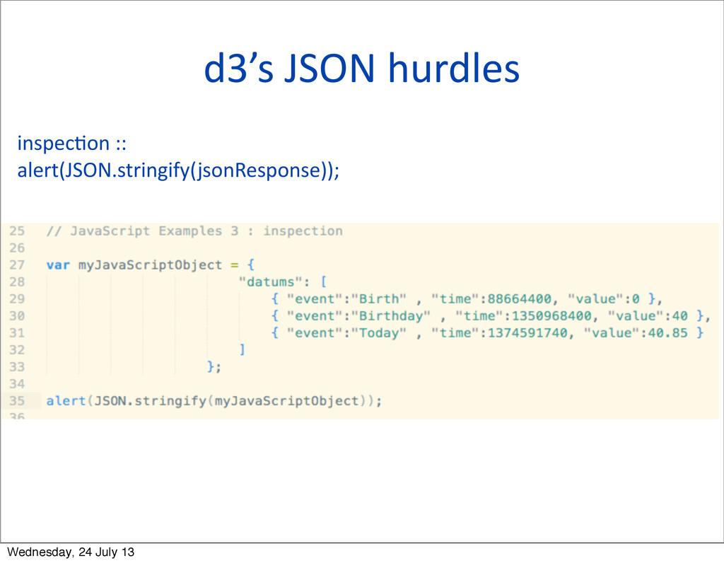 d3's JSON hurdles inspecQon ::  ale...