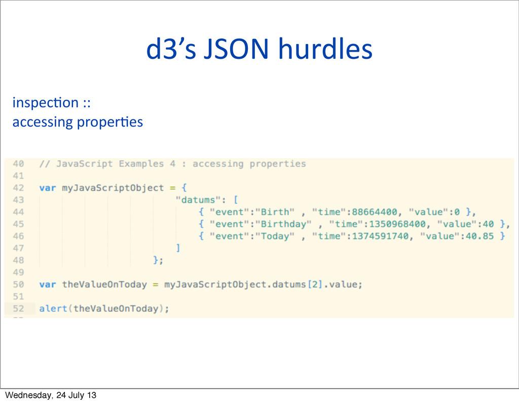 d3's JSON hurdles inspecQon ::  acc...