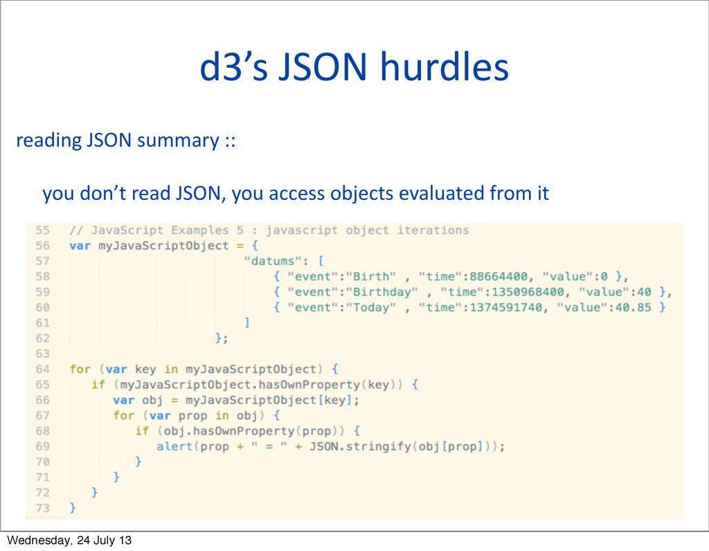 d3's JSON hurdles reading JSON summ...