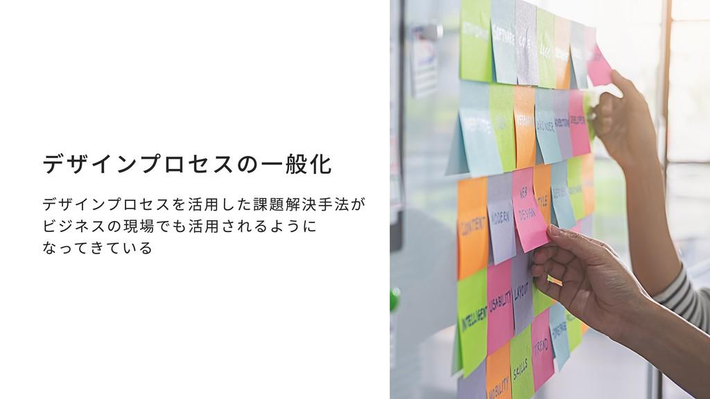 デザインプロセスの一般化 デザインプロセスを活用した課題解決手法が ビジネスの現場でも活用され...